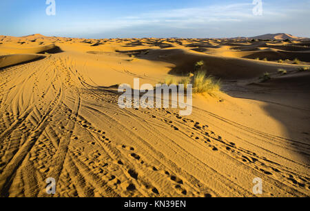 Several sand hill at Erg Chebbi in the Sahara desert. Ers are large dunes formed by wind-blown sand. Morocco.
