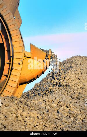 bucket wheel excavator for digging the brown coal. - Stock Photo