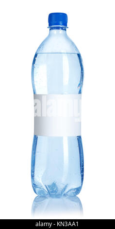 Soda water bottle with blank label isolated on white background. - Stock Photo