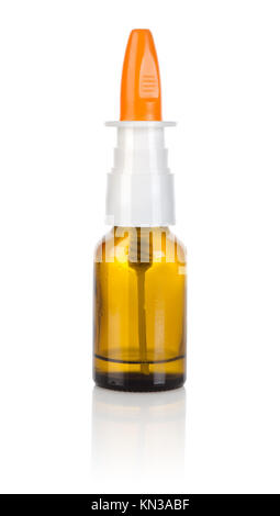 Nasal spray isolated on a white background. - Stock Photo