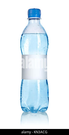 Soda water bottle with blank label isolated on white background. Clipping path. - Stock Photo