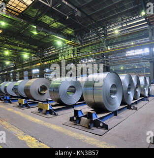 rolls of steel sheet in a plant. - Stock Photo
