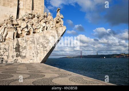 Padrão dos Descobrimentos (Monument to the Discoveries) celebrating Henri the Navigator and the Portuguese Age of - Stock Photo