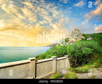 Observation deck on the mountain Iphigenia in Crimea. - Stock Photo