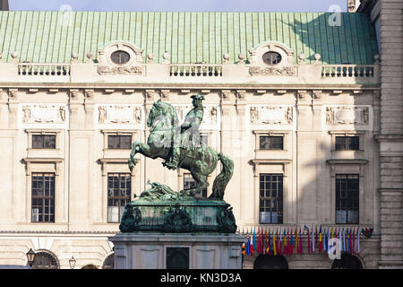 Statue of Prince Eugene of Savoy in front of Hofburg Palace, Vienna, Austria. - Stock Photo