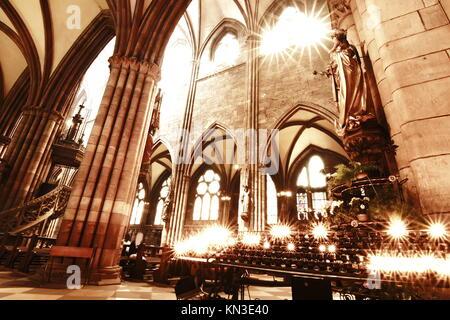 HDRI Photo of the Interior of the Freiburg Muenster in Freiburg im Breisgau, Germany, Europe. - Stock Photo
