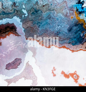 Artificial mineral layers like blue coffe and milk mixture, abstract background illustration - Stock Photo