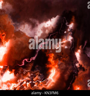 Burning flames, dark red sky storm clouds or smoke, abstract background illustration