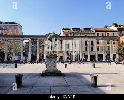 Colonne di San Lorenzo - famous ancient landmark in Milan, Lombardy, Italy. - Stock Photo