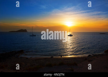 Ibiza sunset from Cala Conta Comte in San Jose at Balearic Islands Spain. - Stock Photo