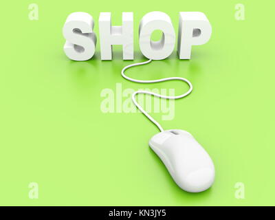 Buy at the Online shop. 3D rendered Illustration. - Stock Photo