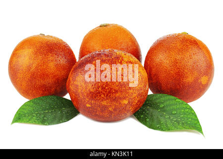 Ripe red blood oranges with green leaves isolated on white background. - Stock Photo