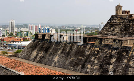 The view from the old Spanish for of Castillo de San Felipe de Barajas towards parts of modern Cartagena, Colombia, - Stock Photo