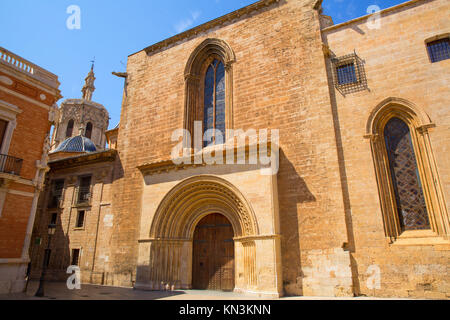 Valencia Cathedral romanesque door Puerta del Palau Almoina and Miguelete at Spain. - Stock Photo