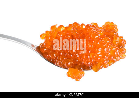 Large red caviar in spoon isolated on white background. - Stock Photo