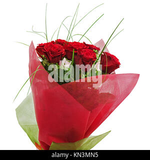 Colorful flower bouquet from red roses isolated on white background. - Stock Photo
