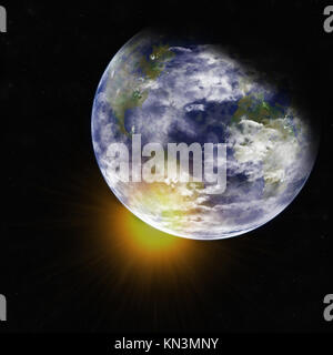 Earth from space. Detailed image. Elements of this image furnished by NASA. - Stock Photo