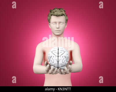 Holding a brain. 3D rendered illustration. - Stock Photo