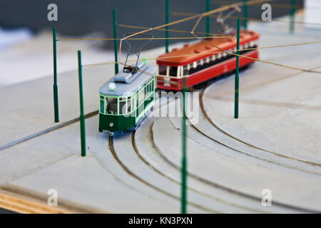 Detail of trains models: concept of collection. - Stock Photo