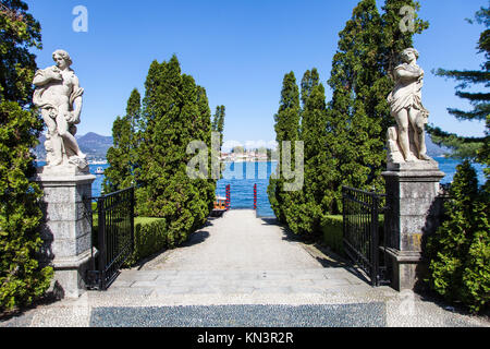 Luxury entrance to a small port in front of Isola Bella, Lago Maggiore, Italy. - Stock Photo