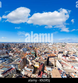 Valencia aerial skyline from el Miguelete tower of Spain. - Stock Photo
