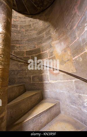 Valencia Miguelete Micalet indoor tower stairs stairway to belfry at Spain. - Stock Photo
