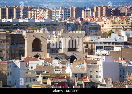 Valencia aerial skyline from el Miguelete Torres de Quart of Spain. - Stock Photo