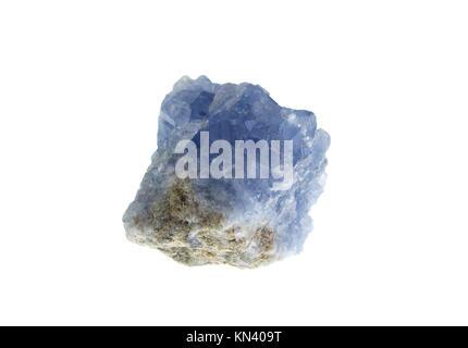 Celestine, precious stone on white background, studio isolated photo. - Stock Photo