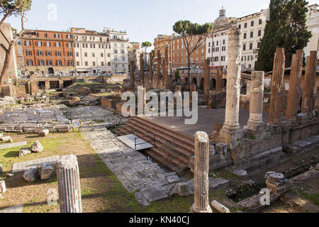 Largo di Torre Argentina is a square in Rome, Italy, that hosts four Republican Roman temples, and the remains of - Stock Photo