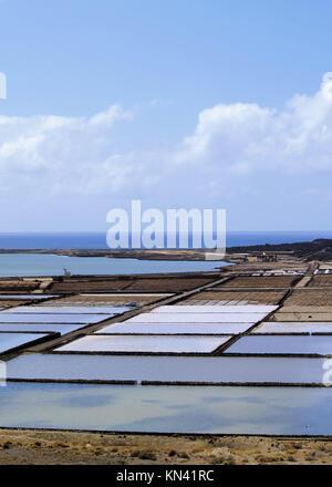 Salinas de Janubio - saltworks on Lanzarote, Canary Islands, Spain. - Stock Photo