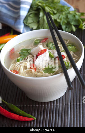 Freshly made chicken noodle soup with red chillies. - Stock Photo