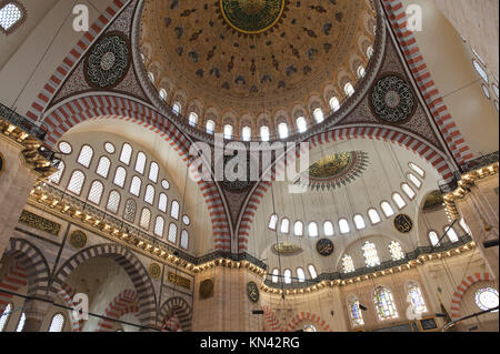Architectural details of the dome at Suleymaniye Mosque, Third Hill, Istanbul, Turkey. - Stock Photo