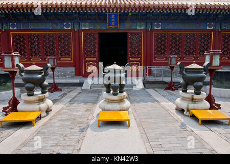 Hall in Temple of Earth in Ditan Park, Beijing, China.