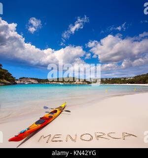 Menorca Cala Galdana Beach in Ciutadella at Balearic islands. - Stock Photo