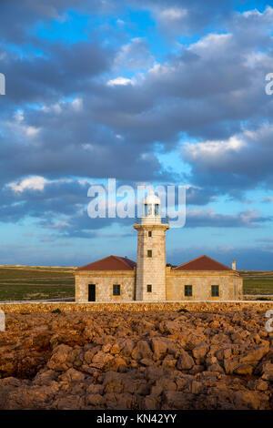 Menorca Punta Nati Faro lighthouse in Ciutadella Balearic Islands of Spain. - Stock Photo
