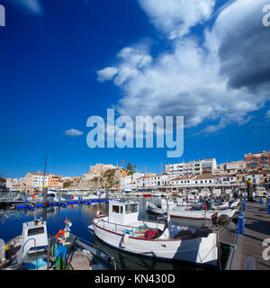 Ciutadella Menorca marina Port view and Ayuntamiento Town hall Balearic Islands. - Stock Photo
