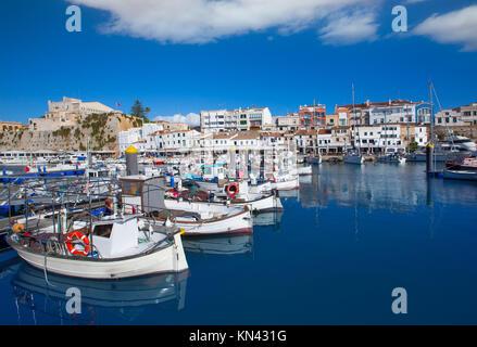 Ciutadella Menorca marina Port view and Ayuntamiento Town hall Balearic Islands. - Stock Photo