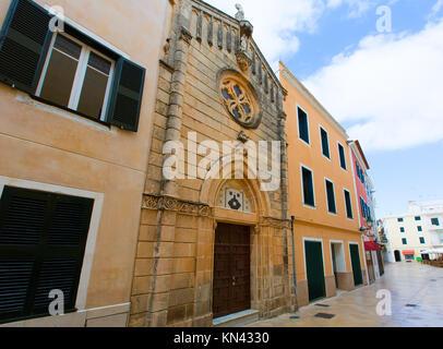 Ciutadella Menorca carrer Mao church downtown in Ciudadela Balearic Islands. - Stock Photo