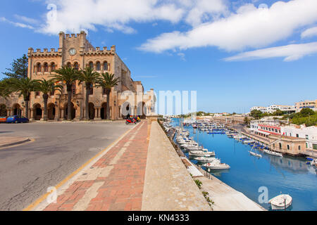 Ciutadella Menorca city Town Hall and Port in Ciudadela at Balearic islands. - Stock Photo