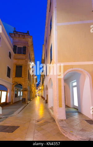 Ciutadella Menorca Ses Voltes arches Ciudadela downtown in Balearic islands. - Stock Photo