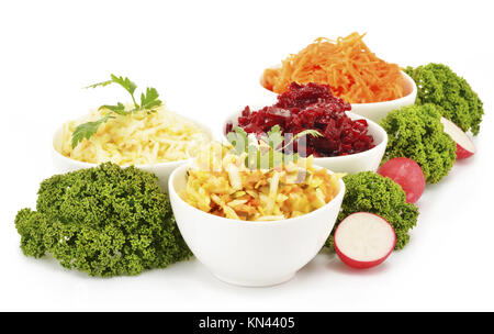 Composition with four vegetable salad bowls. - Stock Photo