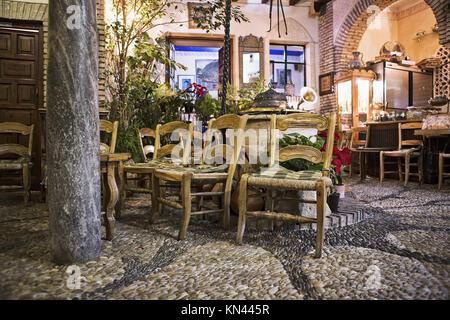 Cordoba tea shop placed in a traditional andalusian courtyard, Spain. - Stock Photo