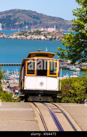 San francisco Hyde Street Cable Car Tram of the Powell-Hyde in California USA. - Stock Photo
