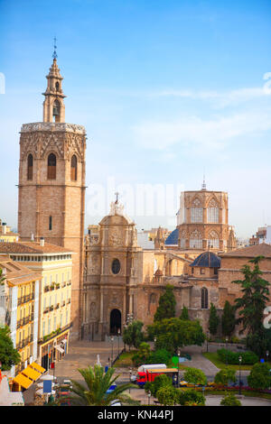 Valencia historic downtown El Miguelete and Cathedral Micalet de la Seu in spain. - Stock Photo