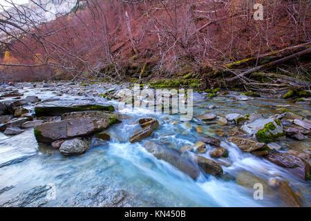 Arazas river Valle de Ordesa valley Pyrenees Huesca Aragon at Spain. - Stock Photo