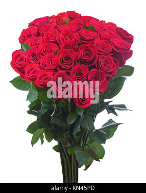 Flower bouquet from red roses isolated on white background. Closeup. - Stock Photo