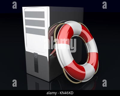 A life belt with a Desktop PC. 3d rendered Illustration. - Stock Photo