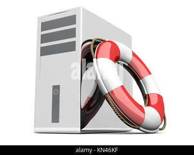 A life belt with a Desktop PC. 3d rendered Illustration. Isolated on white. - Stock Photo