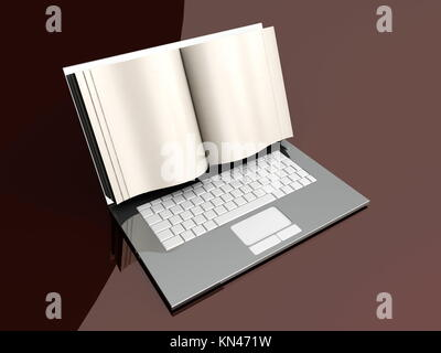A digital book on a laptop screen. Symbolic 3D rendered Illustration. - Stock Photo