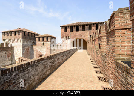 view of north side of main inner court in the ancient Sforzesco Castle from the walk set on top of the caslle walls, - Stock Photo